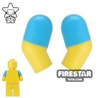 Product shot LEGO Mini Figure Arms - Pair - Dark Azure Short Sleeves