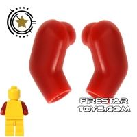 Product shot LEGO Mini Figure Arms - Pair - Dark Red