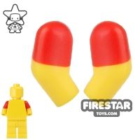 Product shot LEGO Mini Figure Arms - Pair - Red Short Sleeves