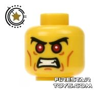Product shot LEGO Mini Figure Heads - Angry Face - Red Eyes