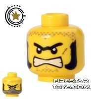 Product shot LEGO Mini Figure Heads - Angry - Sideburns