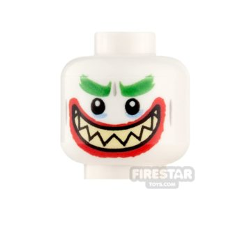 Product shot LEGO Mini Figure Heads - The Joker - Open Mouth Grin/Clenched Teeth