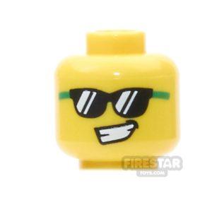 Product shot LEGO Mini Figure Heads - Black and Green Sunglasses
