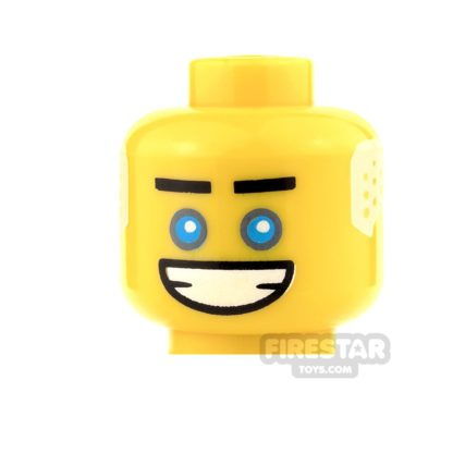 Product shot LEGO Mini Figure Heads - Blue Eyes with White Hair and Big Grin