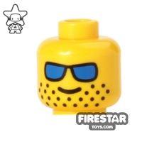 Product shot LEGO Mini Figure Heads - Blue Sunglasses - Stubble