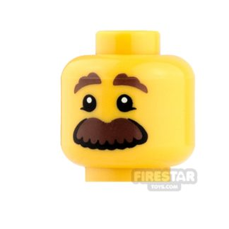 Product shot LEGO Mini Figure Heads - Brown Eyebrows and Large Mustache