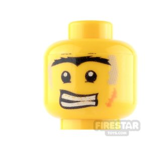 Product shot LEGO Mini Figure Heads - Connected Eyebrows - Determined / Scared