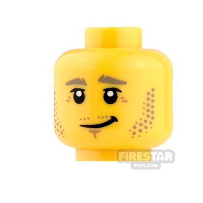 Product shot LEGO Mini Figure Heads - Crooked Grin and Stubble