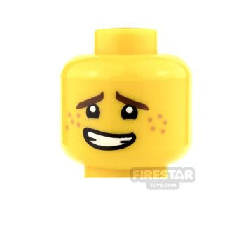 Product shot LEGO Mini Figure Heads - Crooked Smile and Freckles