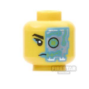 Product shot LEGO Mini Figure Heads -  Dark Azure Lips and Cyborg Eye Piece