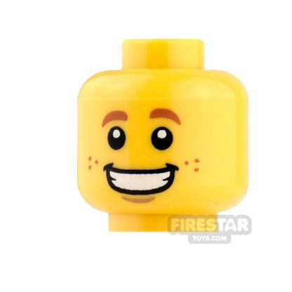 Product shot LEGO Mini Figure Heads - Dark Orange Eyebrows and Freckles