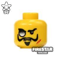 Product shot LEGO Mini Figure Heads - Eyeglass and Scar