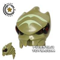 Product shot LEGO Mini Figure Heads - Galaxy Squad - Alien Buggoid - Olive Green