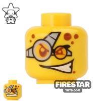 Product shot LEGO Mini Figure Heads - Goggles - Evil Grin