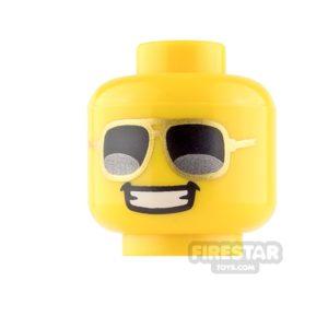 Product shot LEGO Mini Figure Heads - Gold Sunglasses and Grin