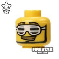 Product shot LEGO Mini Figure Heads - Gold Teeth And White Glasses