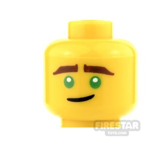 Product shot LEGO Mini Figure Heads - Green Eyes and Crooked Smile