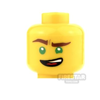 Product shot LEGO Mini Figure Heads - Green Eyes and Lopsided Grin