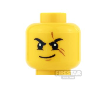 Product shot LEGO Mini Figure Heads - Kai - Scar and Smirk/Gold Eyes