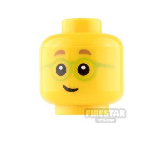 Product shot LEGO Mini Figure Heads - Lime Glasses and Smile