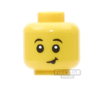 Product shot LEGO Mini Figure Heads - Lopsided Smile With Tongue Sticking Out