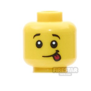 Product shot LEGO Mini Figure Heads -  Lopsided Smile with Red Sticking Out Tongue