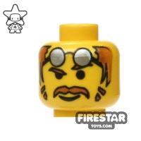 Product shot LEGO Mini Figure Heads - Moustache and Silver Glasses