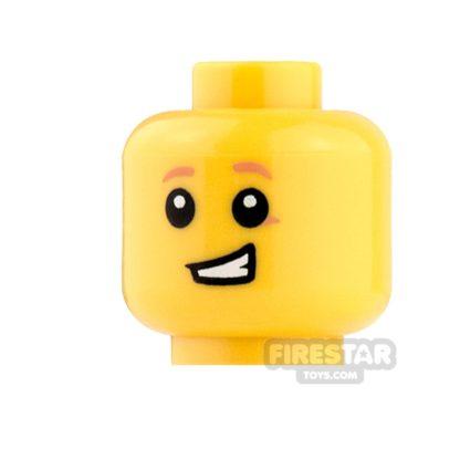 Product shot LEGO Mini Figure Heads - Orange Eyebrows and Lopsided Grin
