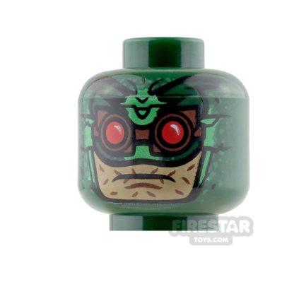 Product shot LEGO Mini Figure Heads - Parademon - Dark Green