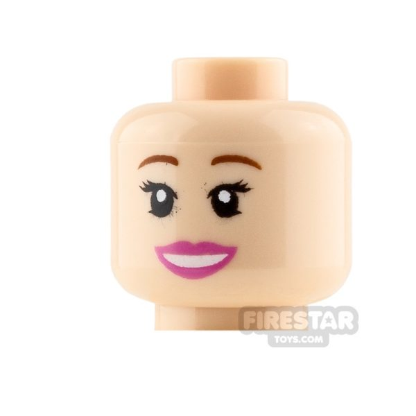 Product shot LEGO Mini Figure Heads - Pink Lips - Smile and Worried
