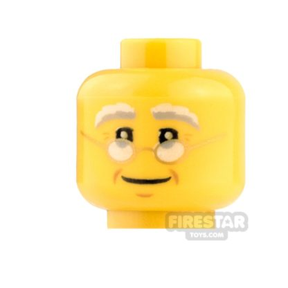 Product shot LEGO Mini Figure Heads - Round Glasses and Smile