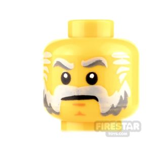 Product shot LEGO Mini Figure Heads - Stern with Gray Beard and Sideburns