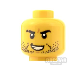 Product shot LEGO Mini Figure Heads - Stubble and Grin