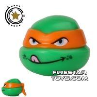 Product shot LEGO Mini Figure Heads - Teenage Mutant Ninja Turtles - Michelangelo