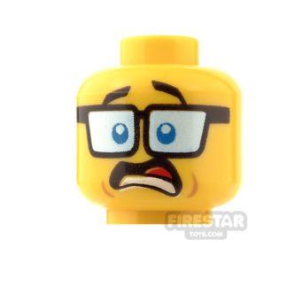 Product shot LEGO Mini Figure Heads - Tinted Glasses - Shocked/Smile