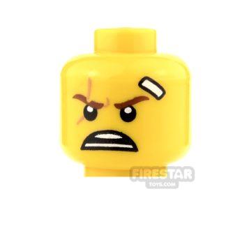 Product shot LEGO Mini Figure Heads - White Bandage and Open Mouth Scowl