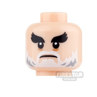 Product shot LEGO Mini Figure Heads - White Beard and Bushy Eyebrows