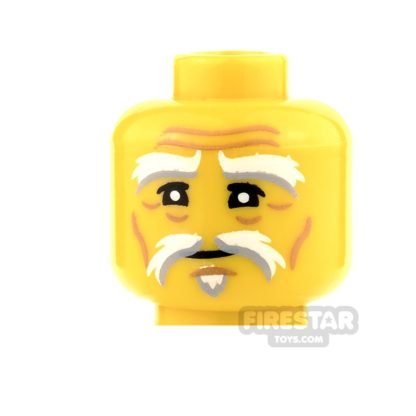 Product shot LEGO Mini Figure Heads - White and Gray Eyebrow with Goatee