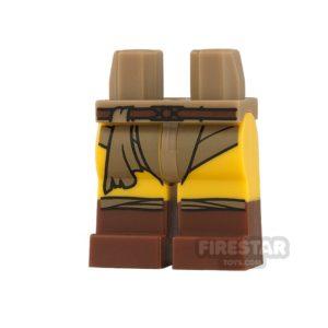 Product shot LEGO Mini Figure Legs - Belt with Boots and Dark Tan Loincloth