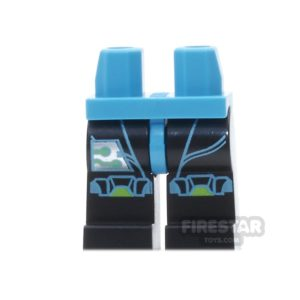 Product shot LEGO Mini Figure Legs - Black And Azure With Silver Circuitry