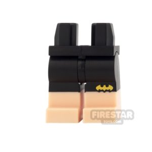 Product shot LEGO Mini Figure Legs - Black Shorts with Yellow Bat