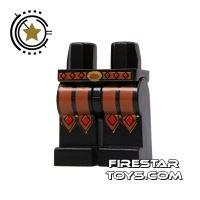 Product shot LEGO Mini Figure Legs - Black With Leg Armour