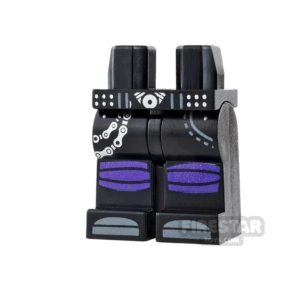 Product shot LEGO Mini Figure Legs - Black with Purple Knee Wrappings