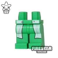 Product shot LEGO Mini Figure Legs - Bright Green - White Lab Coat