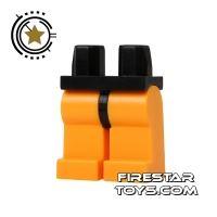 Product shot LEGO Mini Figure Legs - Bright Light Orange With Black Hips