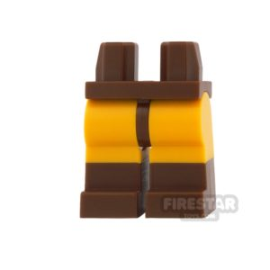 Product shot LEGO Mini Figure Legs - Bright Light Orange with Reddish Brown Boots