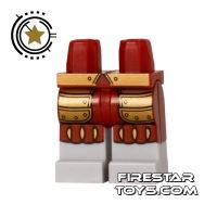 Product shot LEGO Mini Figure Legs - Conquistador - Red and Gold Armour