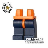 Product shot LEGO Mini Figure Legs - Dark Blue with Orange Hips