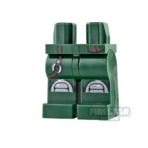 Product shot LEGO Mini Figure Legs - Dark Green with Knee Pads and Belt