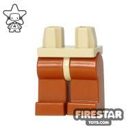 Product shot LEGO Mini Figure Legs - Dark Orange - Tan Hips
